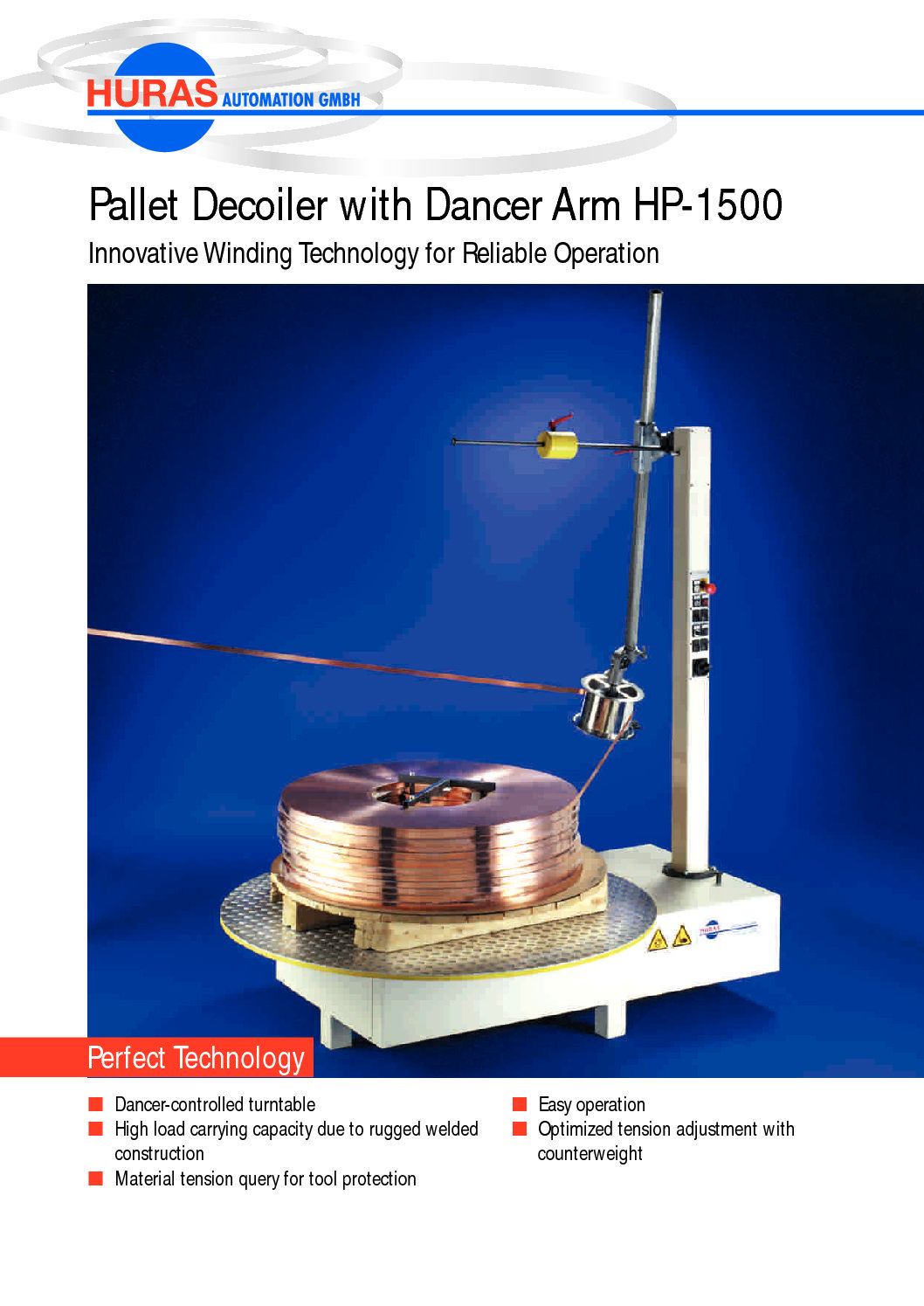 Pallet Decoiler with Dancer Arm HP-1500